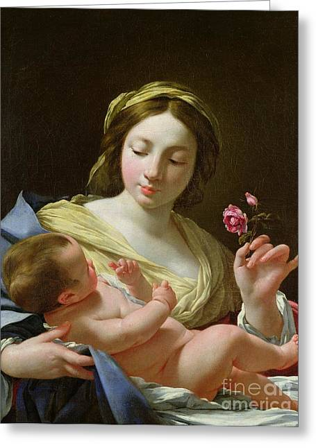 Baby Jesus Paintings Greeting Cards - The Virgin and Child with a Rose Greeting Card by Simon Vouet