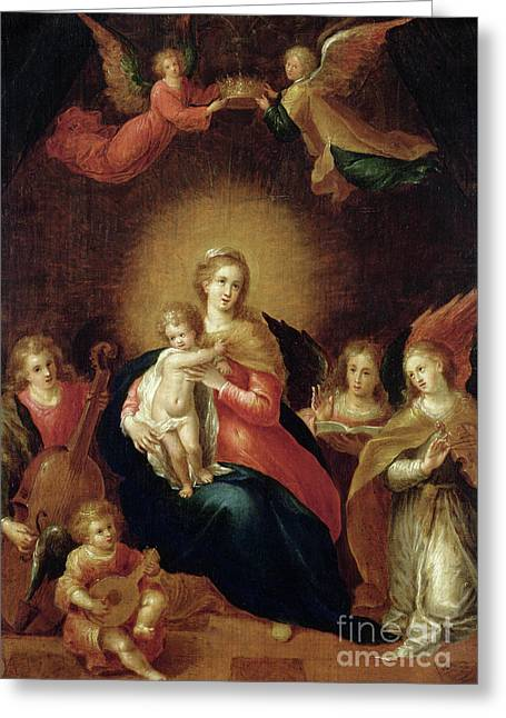 The Virgin And Child With Music Making Angels Greeting Card