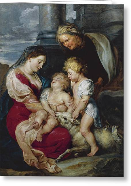 The Virgin And Child With Saint Elizabeth And Saint John Greeting Card by Peter Paul Rubens