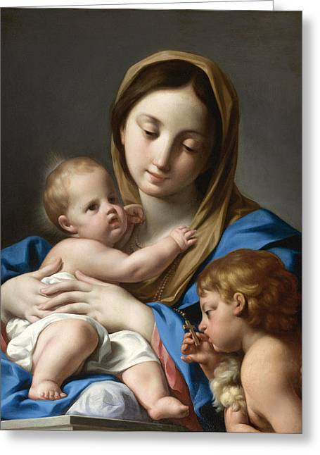The Virgin And Child With Saint John The Baptist Greeting Card by Attributed to Andrea Casali