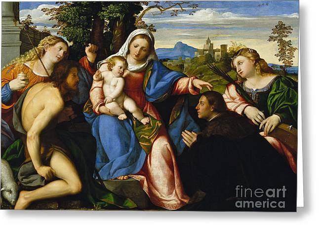 The Virgin And Child With Saints And A Donor Greeting Card