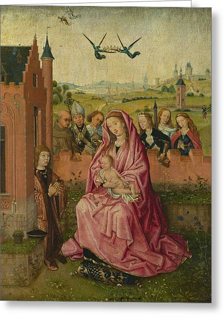 The Virgin And Child With Saints And Donor Greeting Card