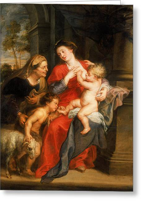 The Virgin And Child With Sts  Elizabeth And John The Baptist Greeting Card