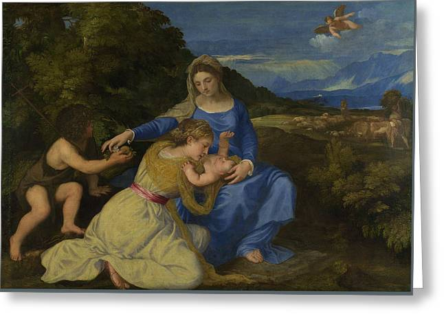The Virgin And Child With The Infant Saint John And A Female Saint Or Donor  Greeting Card by Titian