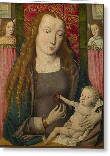 The Virgin And Child With Two Angels Greeting Card by Follower of the Master of the Saint Ursula Legend Bruges