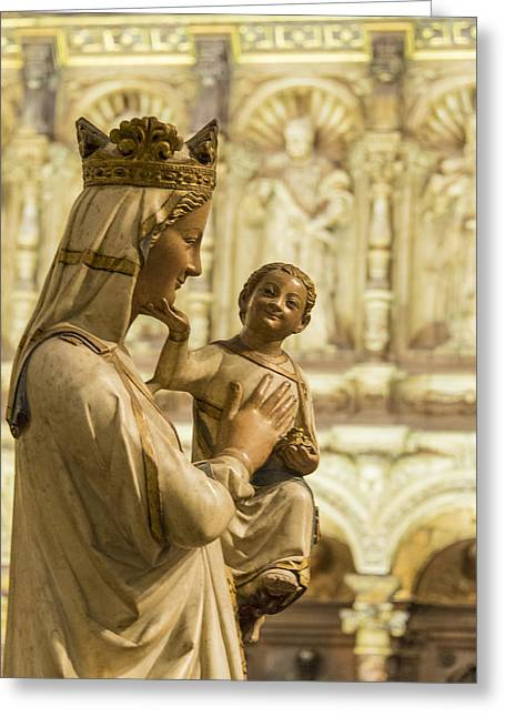 The Virgin Blanca Or Smiling Madonna - Toledo Cathedral - Toledo Spain Greeting Card