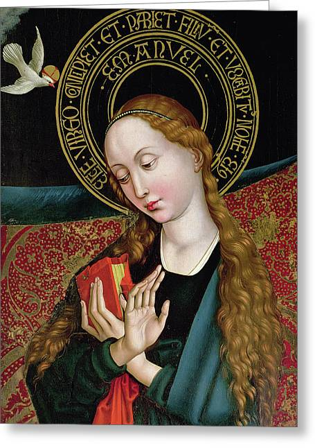 The Virgin From The Annunciation Greeting Card by Martin Schongauer