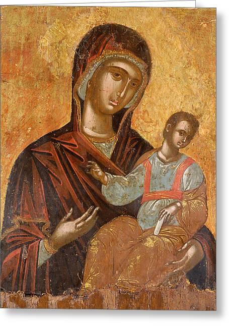 The Virgin Hodegetria Greeting Card by Cretan workshop
