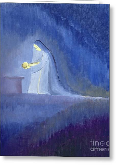 Knelt Paintings Greeting Cards - The Virgin Mary cared for her child Jesus with simplicity and joy Greeting Card by Elizabeth Wang