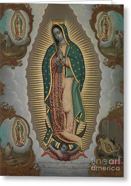 The Virgin Of Guadalupe With The Four Apparitions, 1772 Greeting Card