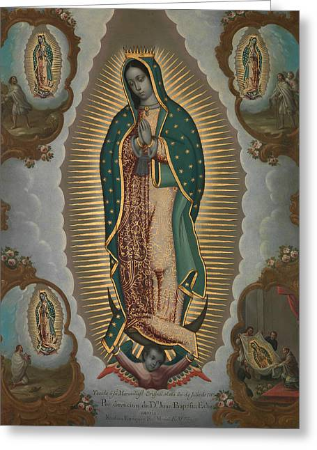 The Virgin Of Guadalupe With The Four Apparitions Greeting Card