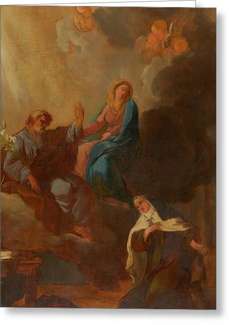 The Virgin Placing St Teresa Under The Protection Of St Joseph Greeting Card by Francois Menageot