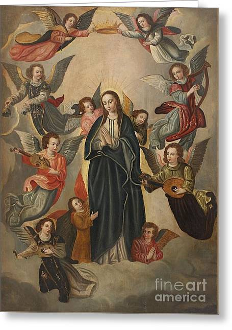 The Virgin Surrounded By Angels Greeting Card