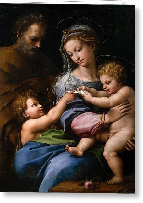 The Virgin With A Rose Greeting Card by Raffaello Sanzio