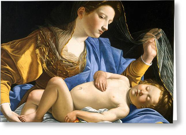 The Virgin With The Sleeping Christ Child Greeting Card by Orazio Gentileschi