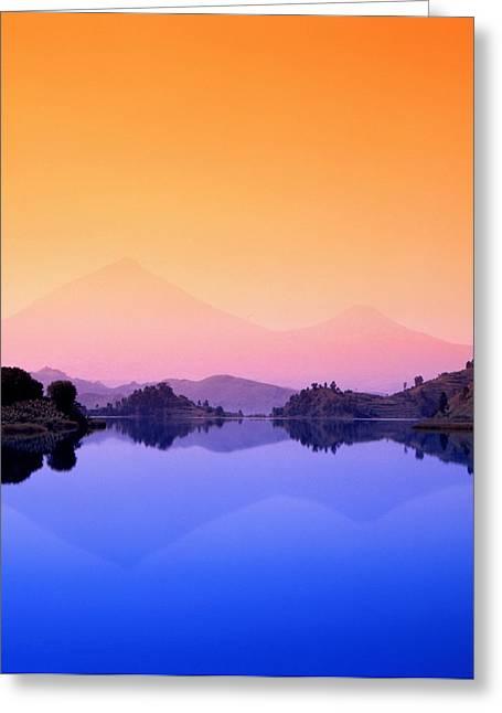 The Virunga Mountains Rise Above Lake Greeting Card by David Pluth