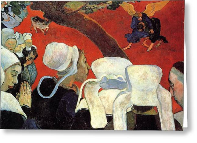The Vision After The Sermon - Jacob Wrestling With The Angel Greeting Card by Paul Gauguin