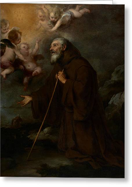 The Vision Of Saint Francis Of Paola Greeting Card by Bartolome Esteban Murillo
