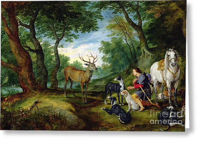The Vision Of Saint Hubert Greeting Card by Brueghel and Rubens