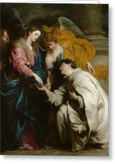 The Vision Of The Blessed Hermann Joseph Greeting Card by Anthony van Dyck