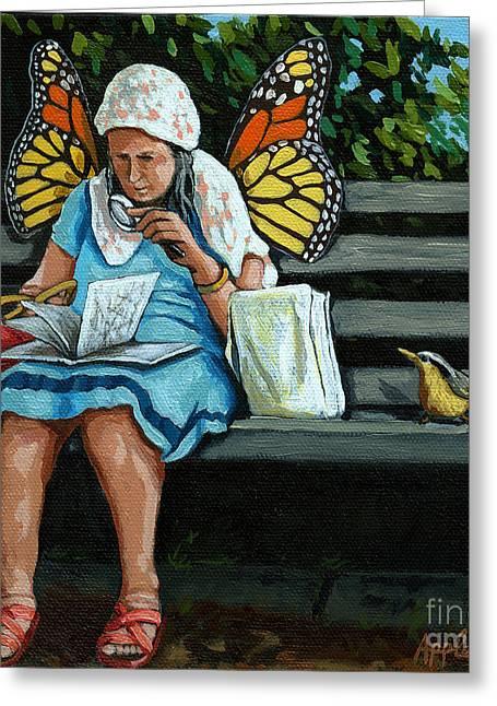 The Visiting Angel - Fantasy Painting Greeting Card