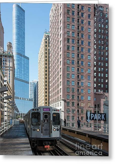 The Wabash L Train At Eye Level Greeting Card