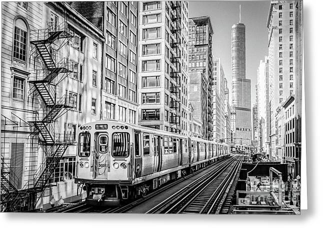 The Wabash L Train In Black And White Greeting Card
