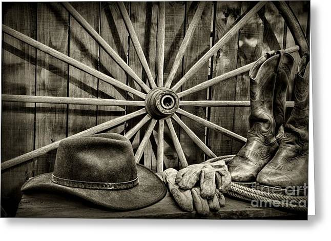 The Wagon Master In Black And White Greeting Card