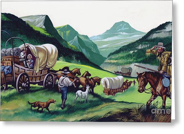The Wagons Followed The National Road To The West  Greeting Card