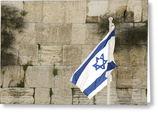 Greeting Card featuring the photograph The Wailing Wall And The Flag by Yoel Koskas