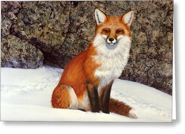 The Wait Red Fox Greeting Card by Frank Wilson