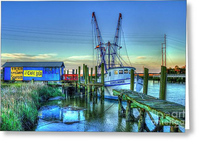 Greeting Card featuring the photograph The Waiting Shrimper Tybee Island Dawn Art by Reid Callaway