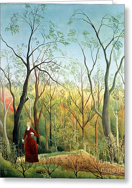 The Walk In The Forest Greeting Card by Henri Rousseau
