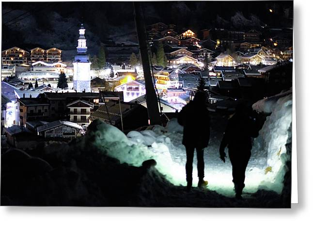 Greeting Card featuring the photograph The Walk Into Town- by JD Mims