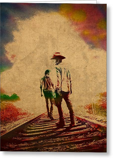 The Walking Dead Watercolor Portrait On Worn Distressed Canvas No 3 Greeting Card