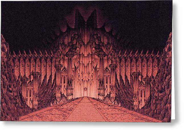 Lord Of The Rings Drawings Greeting Cards - The Walls of Barad Dur Greeting Card by Curtiss Shaffer