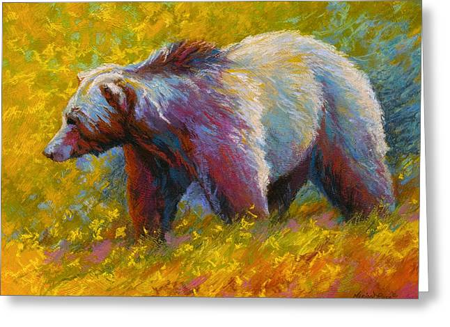 The Wandering One - Grizzly Bear Greeting Card by Marion Rose