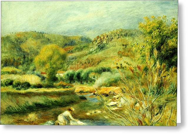 Flowing Stream Greeting Cards - The Washerwoman Greeting Card by Pierre Auguste Renoir
