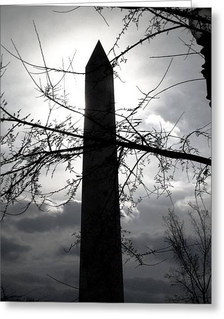 The Washington Monument - Black And White Greeting Card