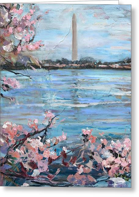 The Washington Monument At Cherry Blossom Festival Painting Greeting Card