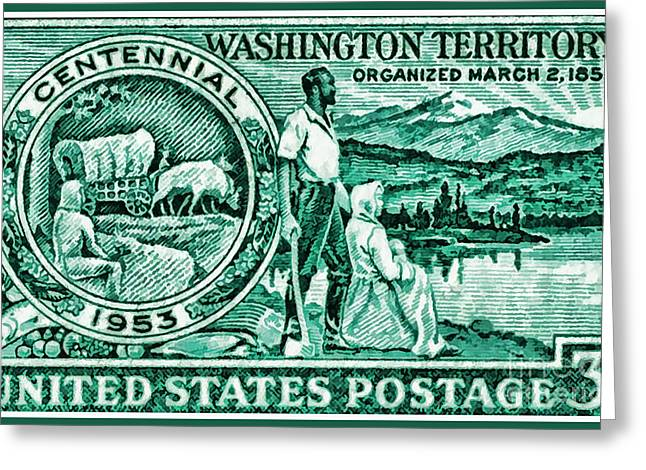 The Washington Territory Stamp Greeting Card by Lanjee Chee