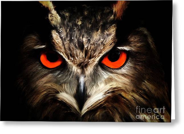 The Watcher - Owl Digital Painting Greeting Card