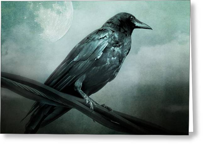 The Watcher Surreal Raven Crow Moon And Clouds Greeting Card