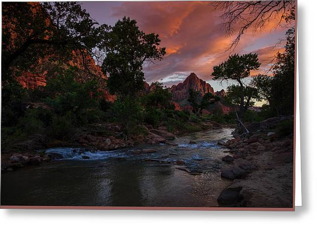 The Watchman Along The Virgin River Sunset Greeting Card by Scott McGuire
