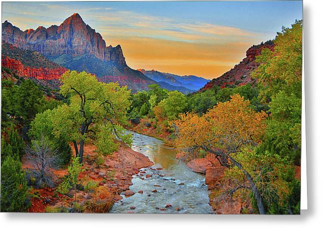 The Watchman And The Virgin River Greeting Card