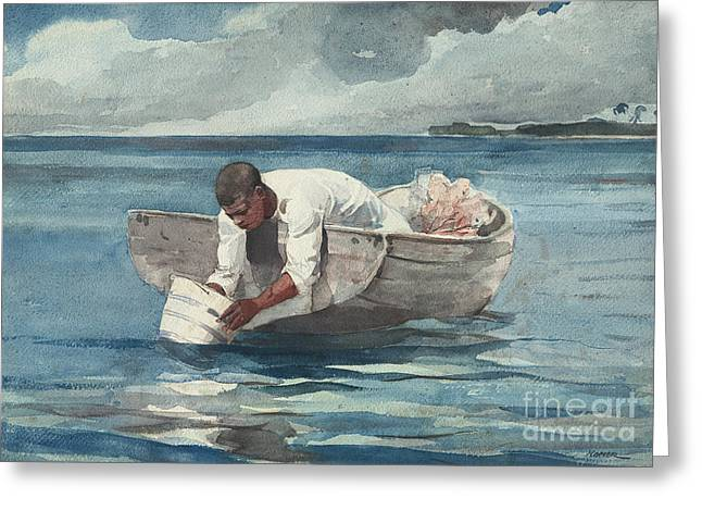 The Water Fan Greeting Card by Winslow Homer