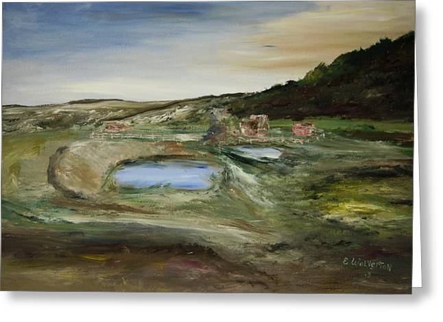 The Water Hole Ranch Greeting Card by Edward Wolverton