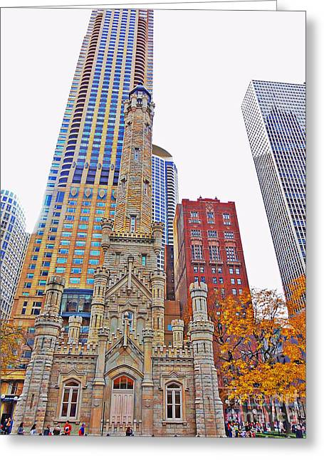 The Water Tower In Autumn Greeting Card by Mary Machare