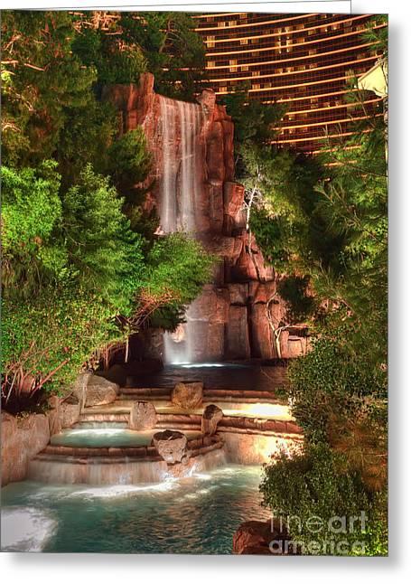 The Waterfall At The Wynn Resort Greeting Card by Eddie Yerkish