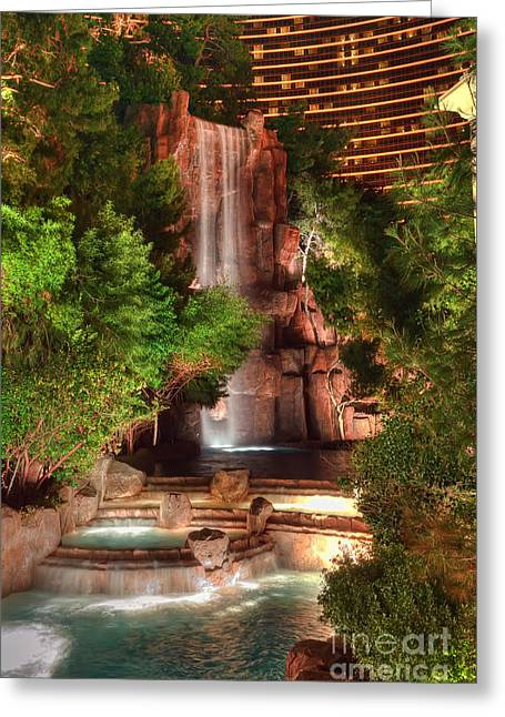 The Waterfall At The Wynn Resort Greeting Card